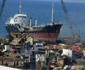 Toxics Action to prevent a European cargo vessel from entering a Turkish shipbreaking yard with dangerous toxic waste on board. General view of the shipyard.