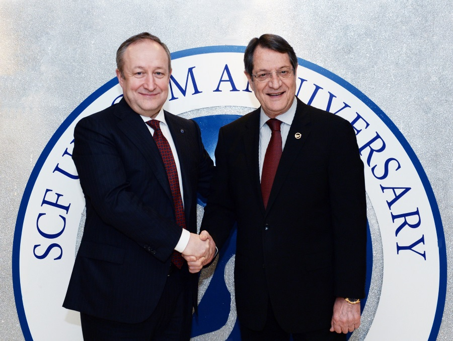 Sergey Frank Pres & CEO Sovcomflot (left) + President Anastasiadis (right) of the Republic of Cyprus low res