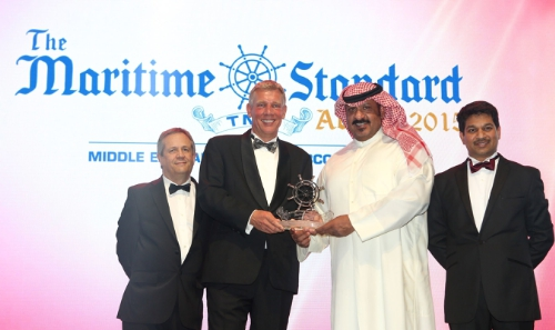 Winner of The Maritime Standard Personality of the Year Award: Sheikh Talal Al-Khaled Al-Sabah, Chief Executive Officer, Kuwait Oil Tanker Company, along with Trevor Pereira, Managing Director, The Maritime Standard; Clive Woodbridge, Editor, The Maritime Standard and Andre Toet, Chief Executive Officer, Sohar Port and Freezone. (PRNewsFoto/Flagship Events)