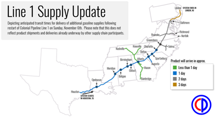 Colonial Pipeline Restarts Line 1 Resumes Gasoline Shipments To - Gasoline-pipeline-map-us